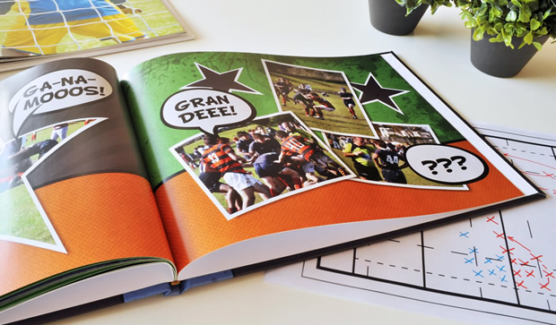 Fotolibro de deportes o gira deportiva. Descargá el proyecto completo para colocar tus fotos!