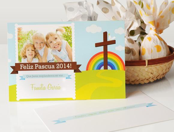 Tarjeta de Pascuas - Diseño Arco Iris