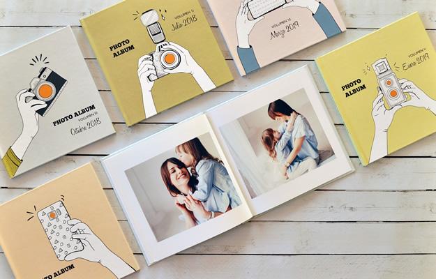Colección Camera Photo Album. Diseño de fotolibro para descargar gratis y completar con tus fotos