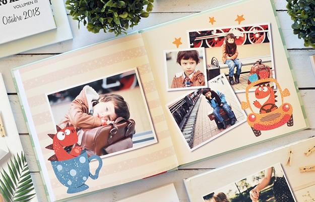 Dinouno. Diseño de fotolibro infantil para descargar gratis y completar con tus fotos.