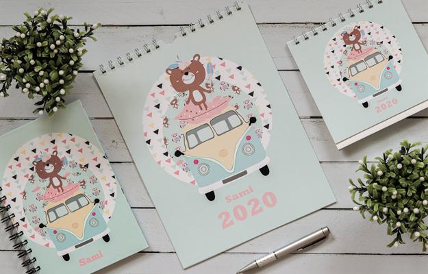 Boho Camp. Diseño de calendario personalizado de pared para descargar gratis y completar con tus fotos en el soft de compu!