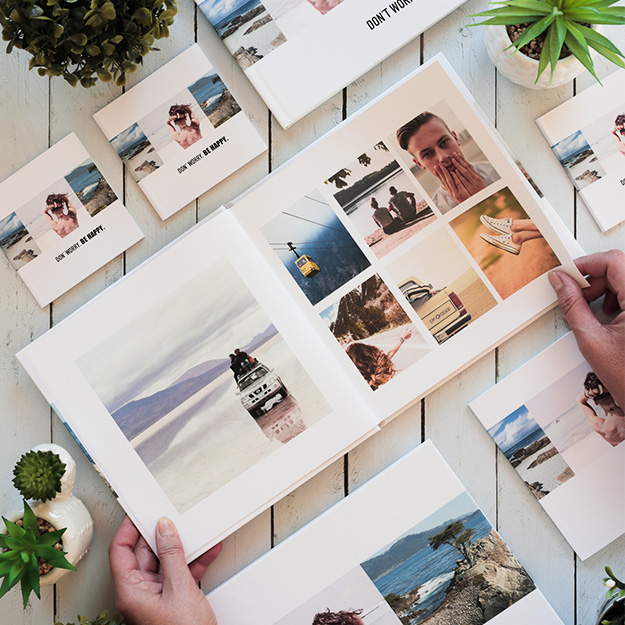 Don´t Worry. Diseño de fotolibro solo con fotos y fondo blanco para descargar y completar con tus fotos en el soft de compu!